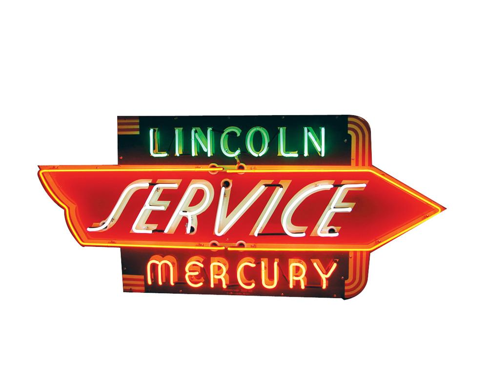 Extremely rare 1940s Lincoln-Mercury Service single-sided porcelain neon dealership sign. Impossible to find especially in t... - Front 3/4 - 82065