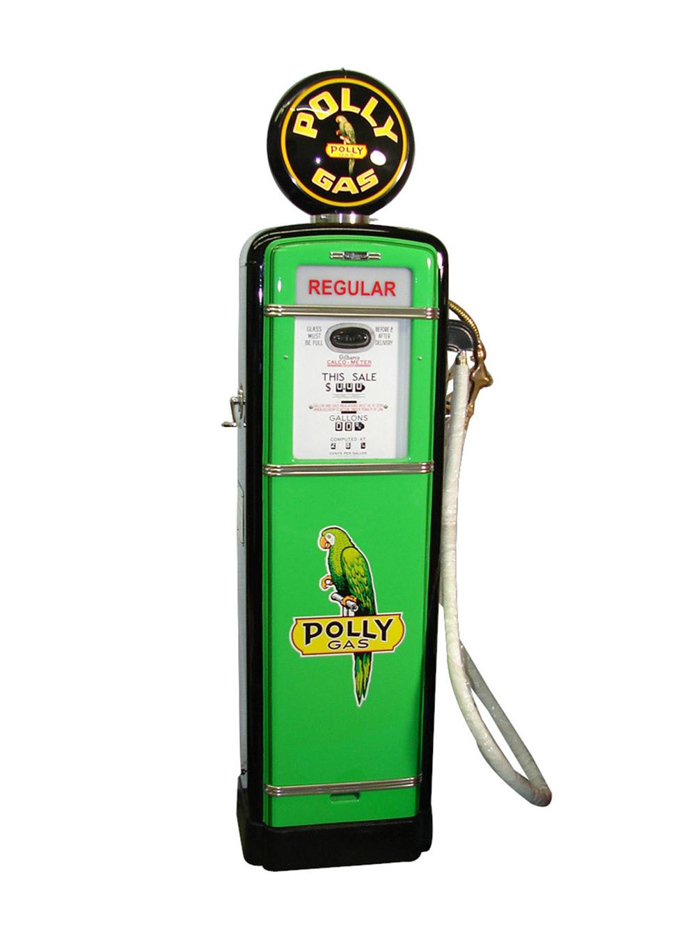 Choice Gilbarco 1950s Polly Gasoline restored service station gas pump. Professionally restored to highest standards. - Front 3/4 - 82069
