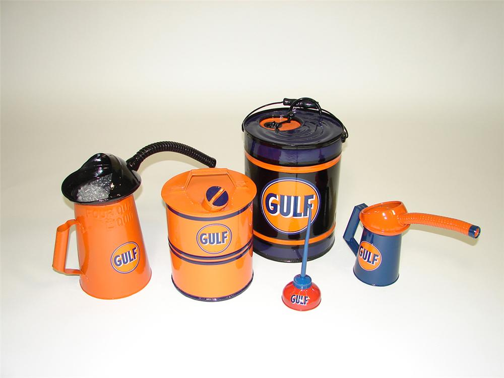 Lot of five restored circa 1930s Gulf Oil service department cans. - Front 3/4 - 82084
