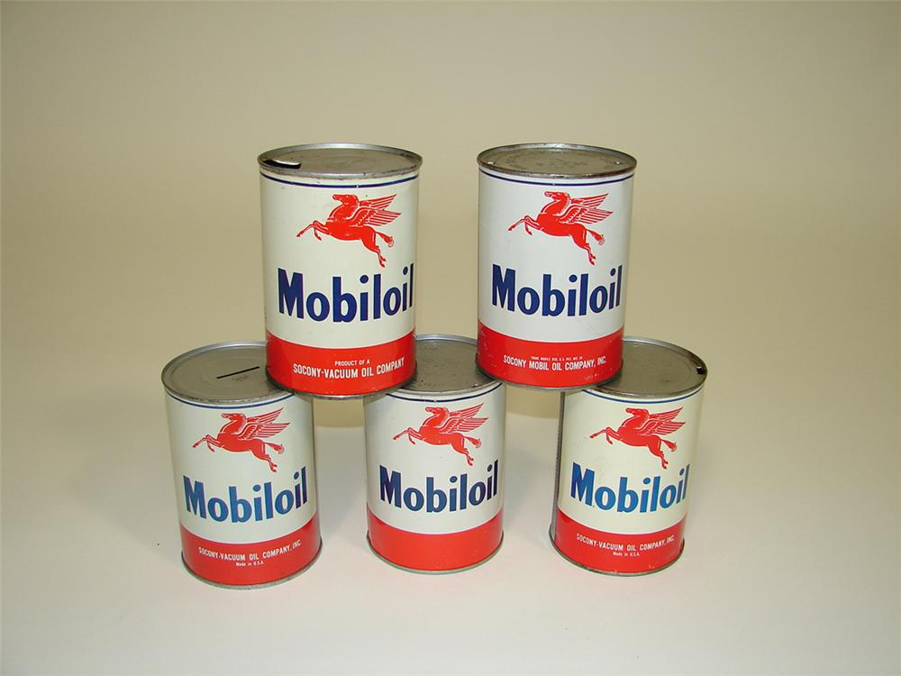 Lot of five 1950s Mobil Oil metal quart cans. - Front 3/4 - 82086