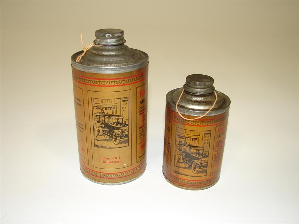 Lot of two 1920s French Star Automotive Polish cone topped solder seamed tins. - Front 3/4 - 82202