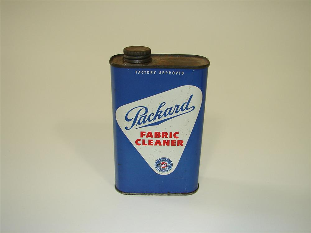 Hard to find 1940s-50s Packard Automobiles Fabric Cleaner one pint tin. - Front 3/4 - 82205