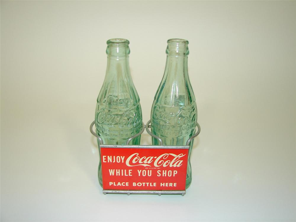 "N.O.S. 1950s Coca-Cola shopping cart bottle holder with two original embossed glass bottles. 9.5+ Size 6""x8""x4"" - Front 3/4 - 82208"