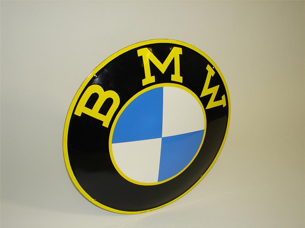 "Highly desirable 1950s BMW Automobiles porcelain dealership sign. Condition: 9.5+ Size 24"" Diameter - Front 3/4 - 82209"