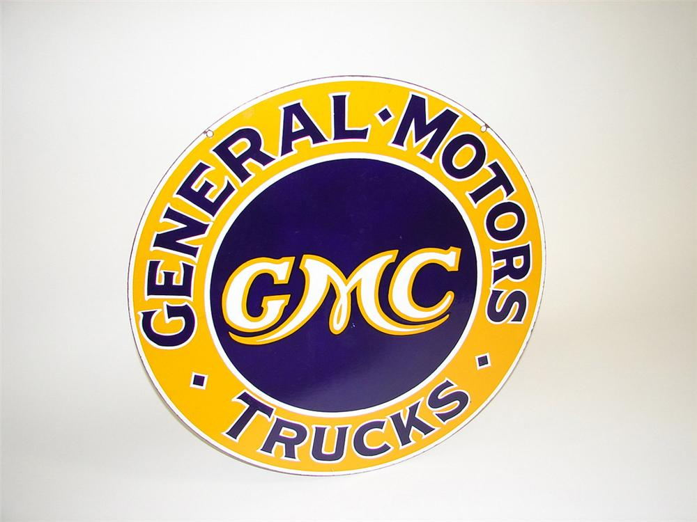 "Scarce 1930s GMC Trucks double-sided porcelain dealership sign. Size 30"" Diameter Condition: 9.0+ - Front 3/4 - 82210"