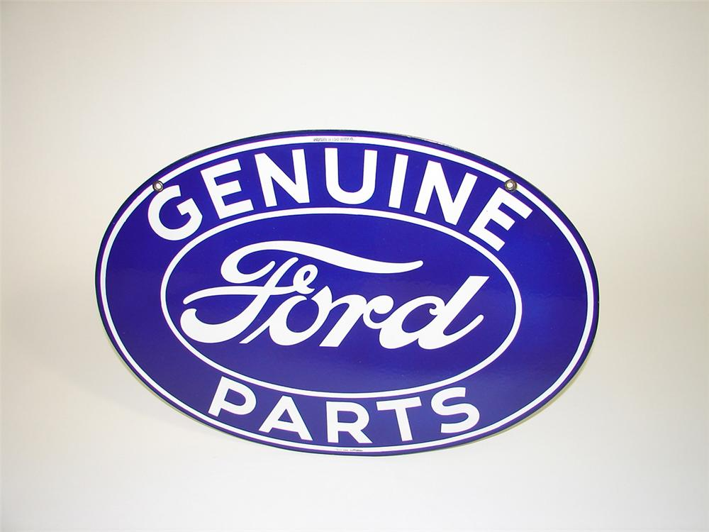 Gorgeous N.O.S. 1930s Ford Genuine Parts double-sided porcelain oval shaped sign. Found in unsurpassable condition. Conditio... - Front 3/4 - 82212