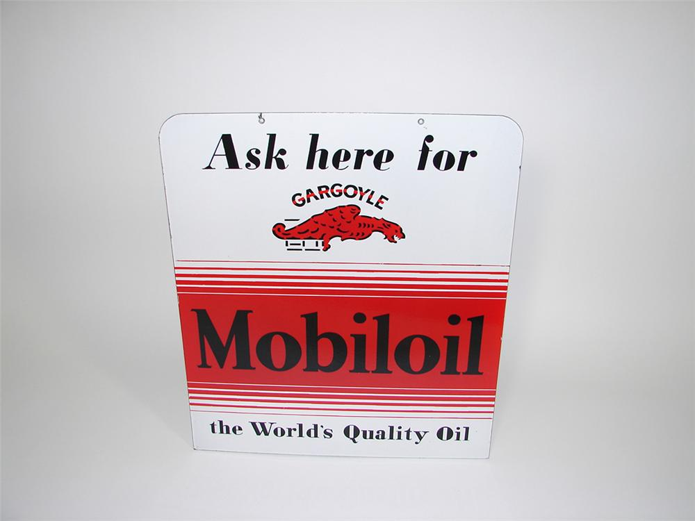 Highly sought after Gargoyle Motor Oil double-sided porcelain service station sign. - Front 3/4 - 82214