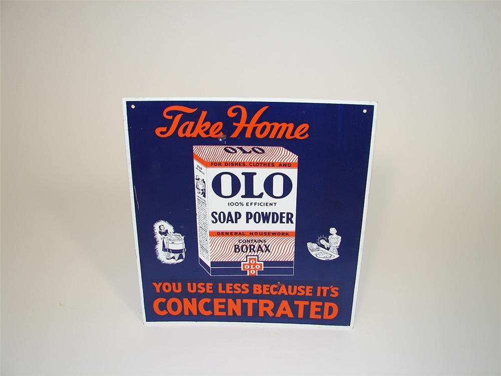 N.O.S. 1930s-40s Olo Soap General Store tin sign with nice graphics. - Front 3/4 - 82215
