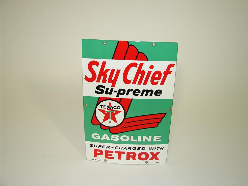 N.O.S. 1963 Texaco Sky Chief Supreme porcelain pump plate sign. - Front 3/4 - 82217