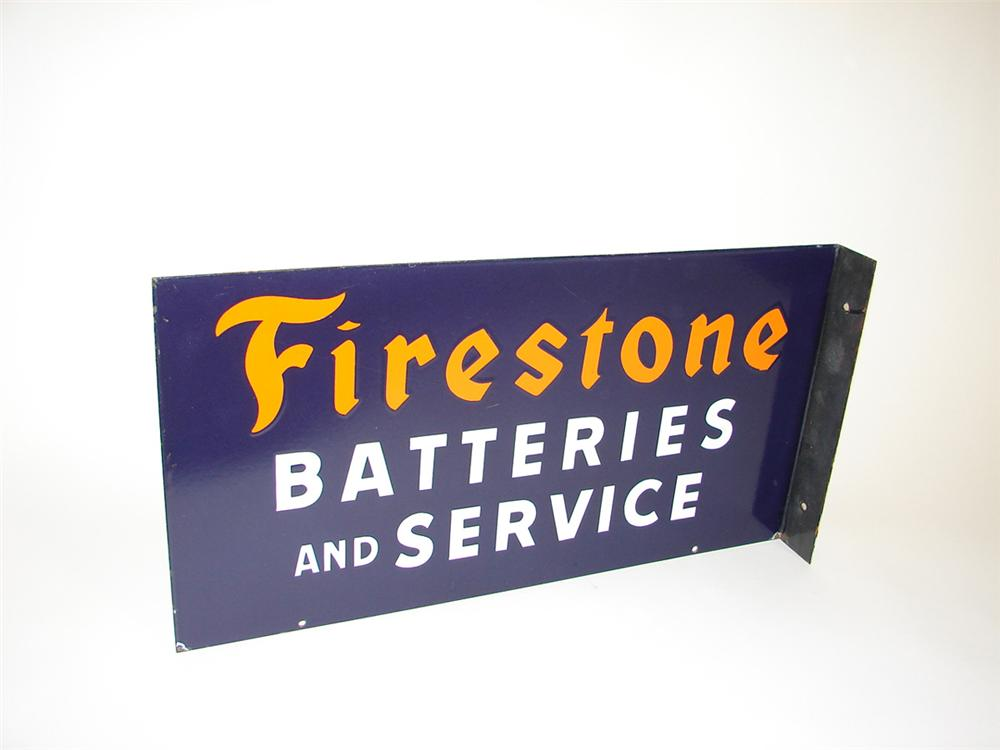 Elusive 1940s Firestone Batteries and Service porcelain garage flange. Worthy of bragging rights. - Front 3/4 - 82221
