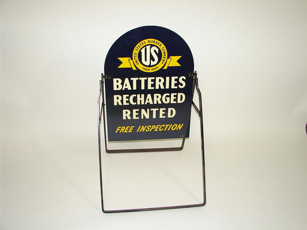Rare N.O.S. U.S. Batteries double-sided tin garage curb sign found in the original shipping box. - Front 3/4 - 82251