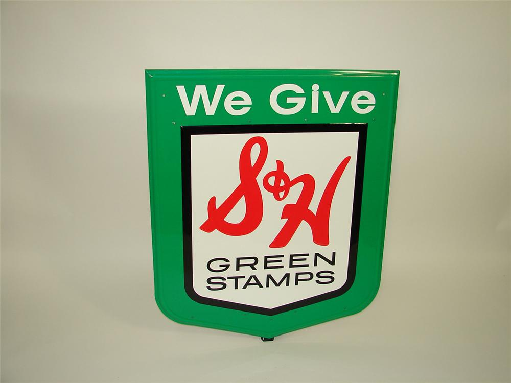 N.O.S. S&H Green Stamps embossed tin sign. - Front 3/4 - 82258