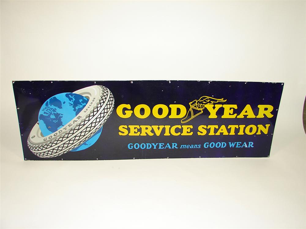 Distinctive 1930s Goodyear Service station porcelain garage sign featuring tire over globe logo. - Front 3/4 - 82268