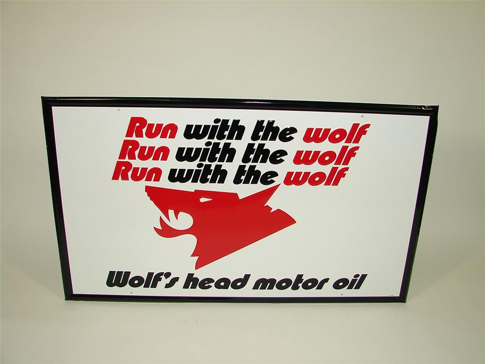 N.O.S. Large Wolfs Head Motor Oil single-sided self-framed tin garage sign. - Front 3/4 - 82269
