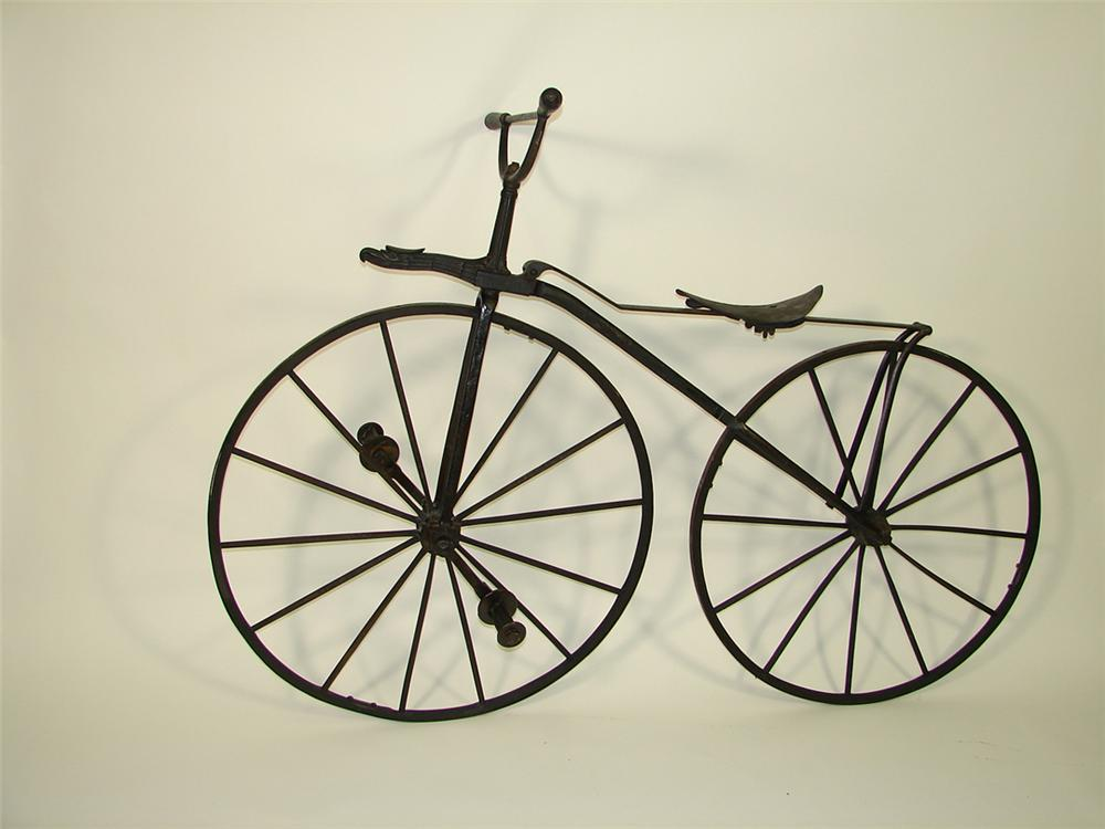Rare 1800s wooden bicycle with eagle figurehead.  Found in all original condition. - Front 3/4 - 82274