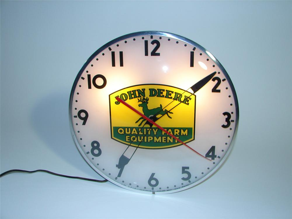 Very hard to find John Deere Quality Farm Equipment light-up dealership clock by Telechron. - Front 3/4 - 82275