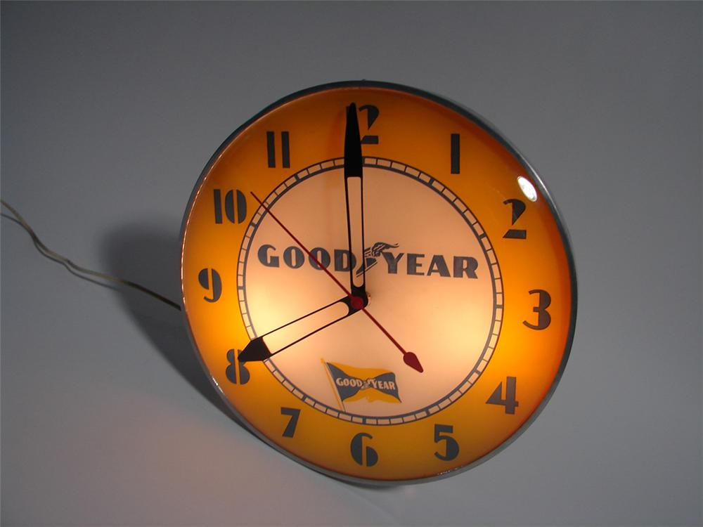 Fabulous 1940s-50s Goodyear Tires glass faced light-up garage clock. - Front 3/4 - 82277