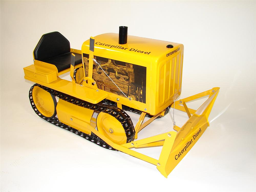"""Scarce 1950s Caterpillar Diesel D-4 pedal tractor by AMF.  Restored to original. Size 42""""x25""""x22"""" - Front 3/4 - 82282"""