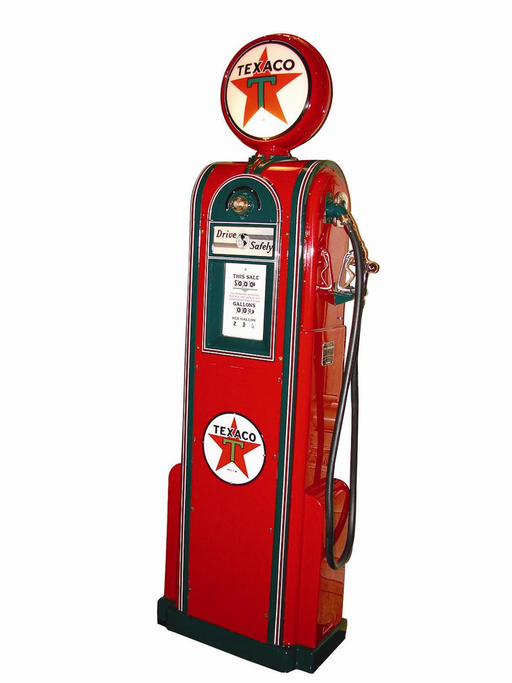 Superb 1930s Wayne 60 restored Texaco service station gas pump with station lighter attached.  To call this superb would be ... - Front 3/4 - 82286
