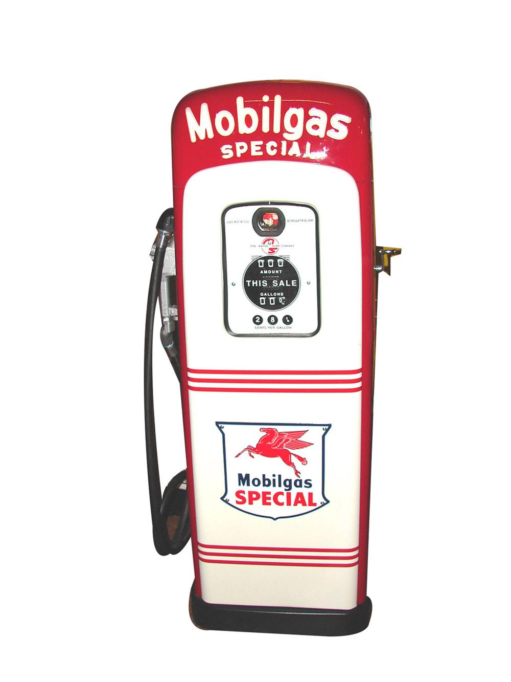 Hard to find 1940s-50s M & S 80 restored Mobilgas service station pump with light-up script top. - Front 3/4 - 82293