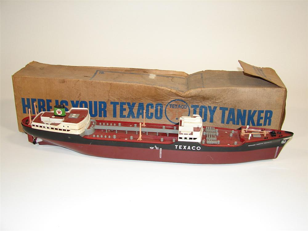 1950s Texaco North Dakota Oil Tanker promotional give-away ship still in the original box. - Front 3/4 - 82314