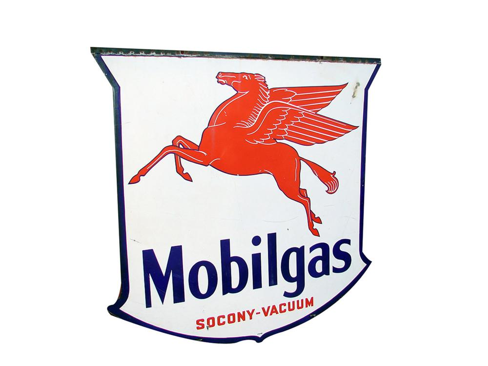 1940 Mobilgas Socony-Vacuum shield shaped double-sided porcelain service station sign with Pegasus logo. - Front 3/4 - 82318