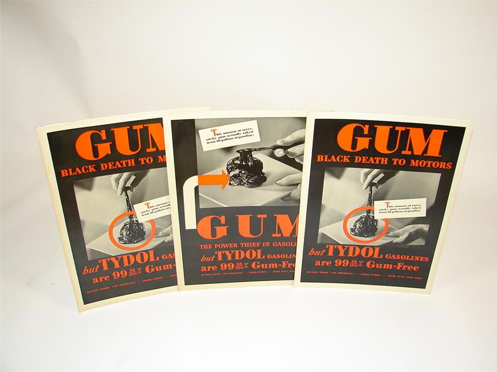 """Lot of three 1930s Tydol """"Gum-Free"""" Gasolines service station cardboard signs. - Front 3/4 - 82331"""
