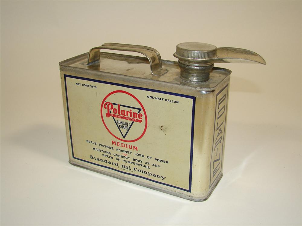 Early 1920s Standard Polarine Motor Oil one-half gallon solder seamed tin with spout. - Front 3/4 - 82333