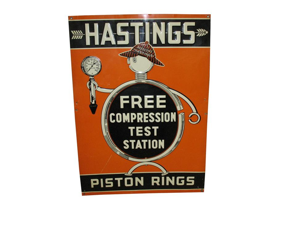 Early Hastings Piston Rings single-sided tin garage sign with outstanding graphics. - Front 3/4 - 82340