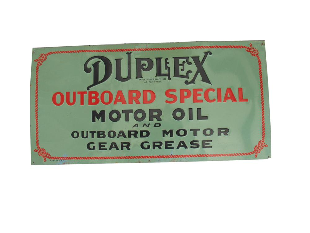 Magnificent 1930s Duplex Outboard Motor Oil single-sided embossed tin sign. - Front 3/4 - 82344