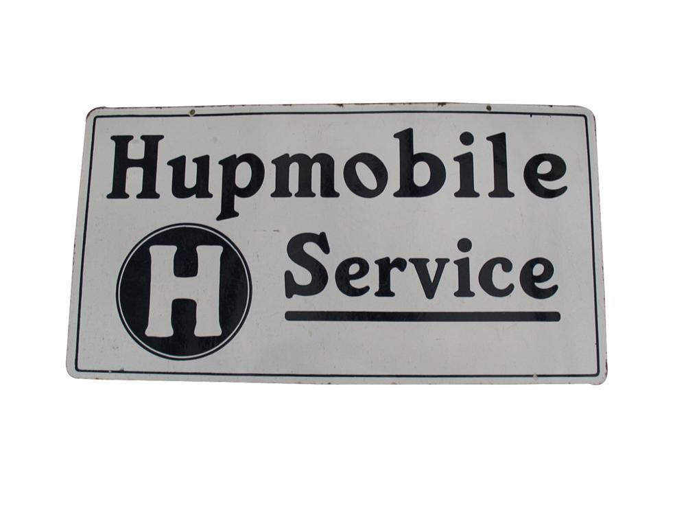 1930s Hupmobile service double sided porcelain dealership sign. - Front 3/4 - 82345