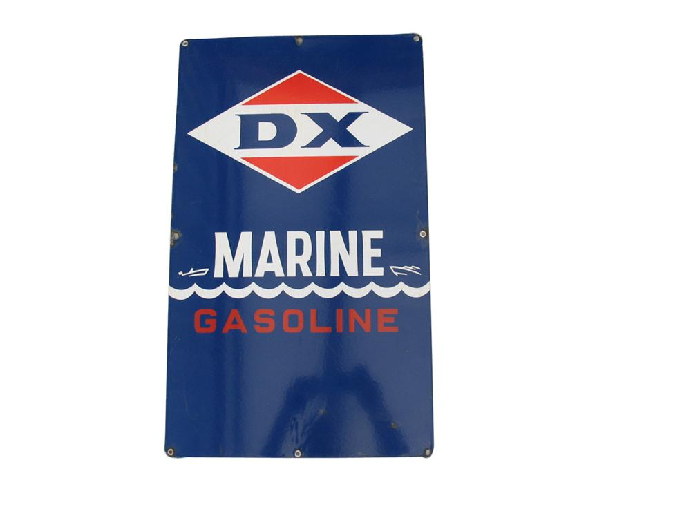 Gorgeous DX Marine Gasoline porcelain pump late sign with graphics. - Front 3/4 - 82346