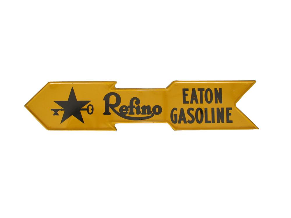 Very early Refino Eaton gasoline die-cut tin arrow sign. - Front 3/4 - 82350