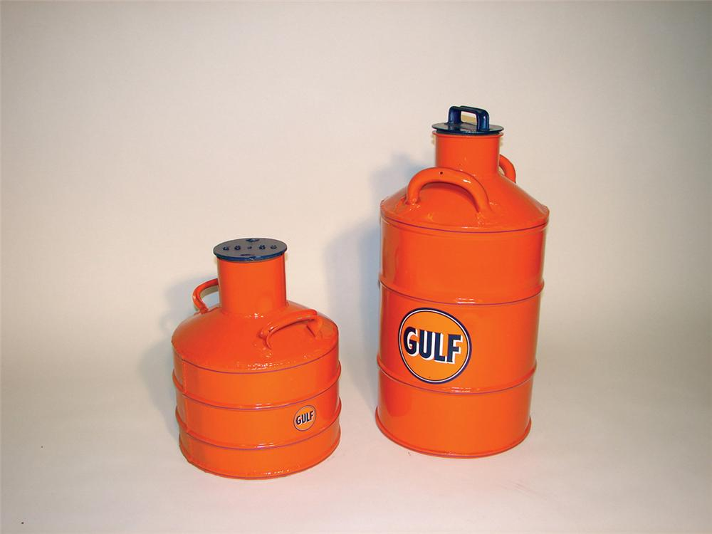 Lot of two wonderfully restored 1920s-30s Gulf Service station oil/gas containers. - Front 3/4 - 82358