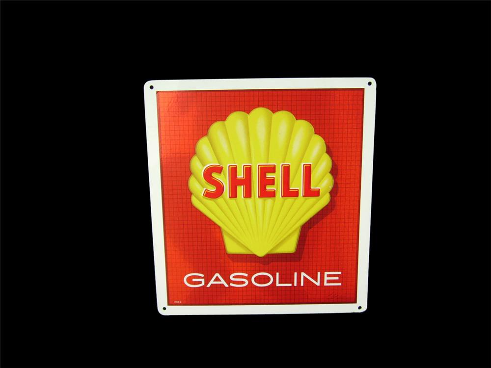 N.O.S. Shell Gasoline single-sided tin pump plate sign with clamshell logo. - Front 3/4 - 82394
