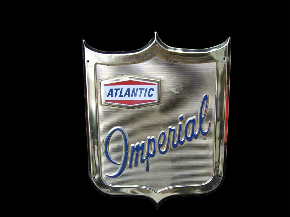 1950s Atlantic Imperial Gasoline single-sided three-dimensional pump plate sign. - Front 3/4 - 82395