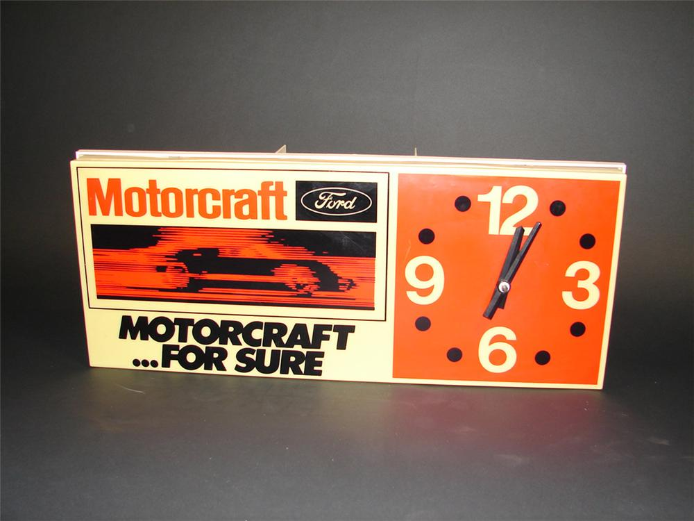 Late 1960s-early 1970s Ford Motorcraft service department light-up clock. Features GT-40 graphic. Presents strongly. - Front 3/4 - 82399