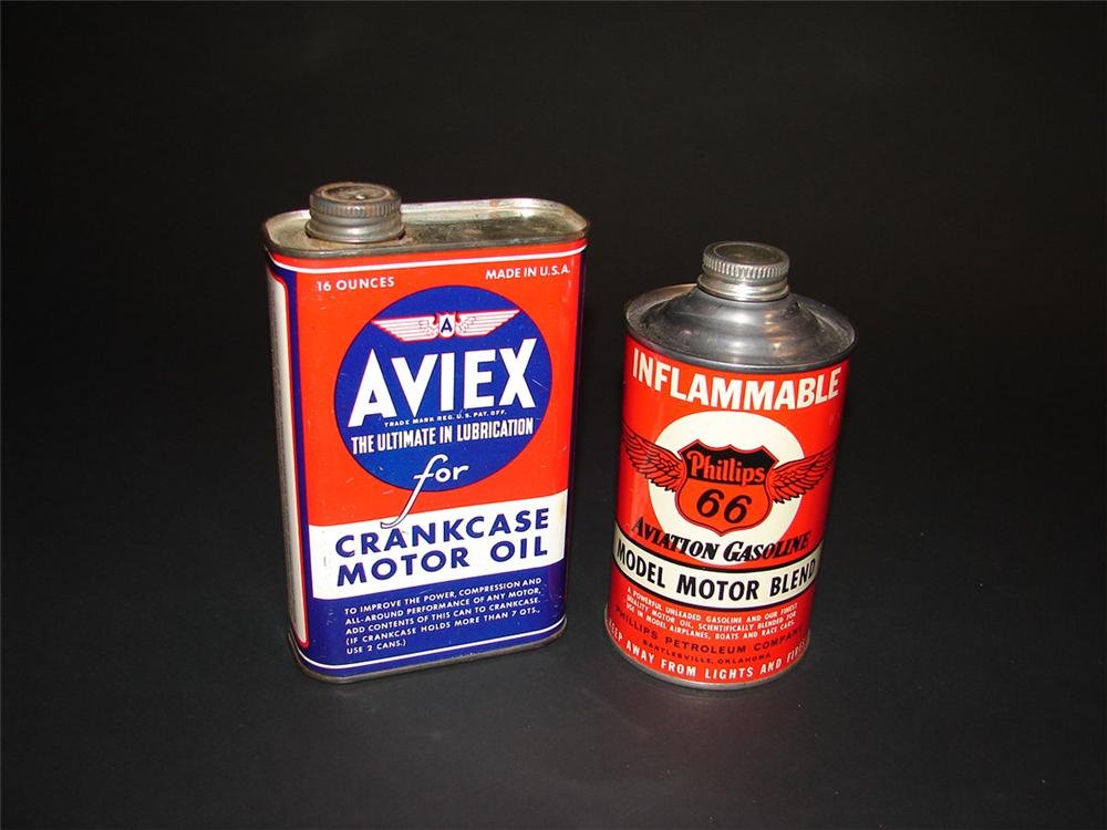 Lot of two 1940s-50s vintage metal aviation related tins: Phillips 66 Aviation Motor Oil and Aviex Crank Case Motor Oil. - Front 3/4 - 82408