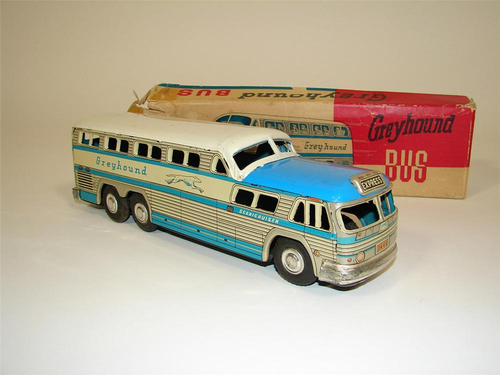 N.O.S. 1954 Greyhound Bus Lines Scenic Cruiser tin litho friction drive toy bus still in the original box. - Front 3/4 - 82416