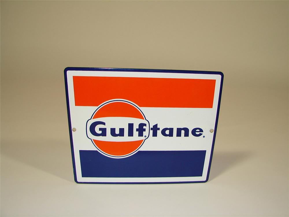 """N.O.S. 1960s Gulf """"Gulftane"""" porcelain pump plate sign. - Front 3/4 - 82418"""