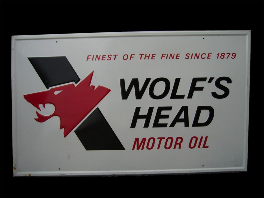 N.O.S. Large Wolfs Head Motor Oil single-sided tin garage sign. - Front 3/4 - 82422