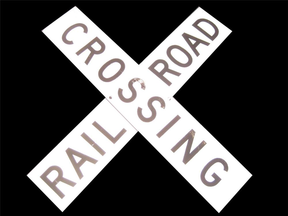 Interesting 1940s-50s Railroad Crossing sign. - Front 3/4 - 82423