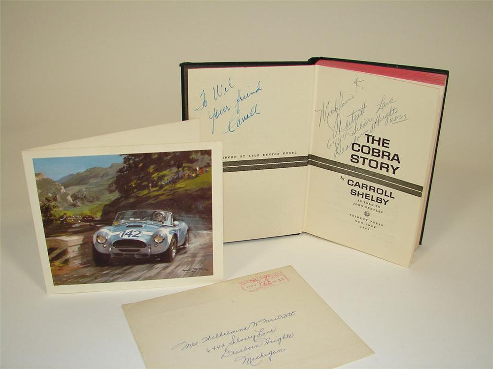 1965 The Cobra Story first edition book personally signed in 1965 by Carroll Shelby and a 1964 Shelby American holiday card ... - Front 3/4 - 82445