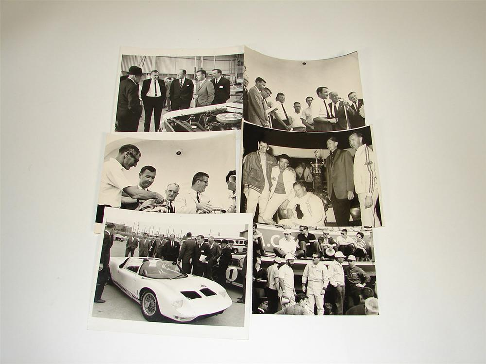 Lot of six original 1960s Ford Racing-Shelby American archive photos featuring Carroll Shelby, Henry Ford, Ray Geddes, and o... - Front 3/4 - 82446