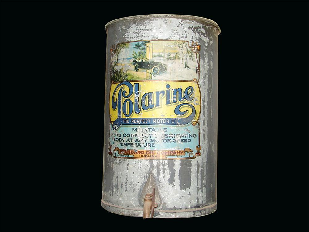 1913 all original Polarine Motor Oil filling station bulk oil dispenser. - Front 3/4 - 82450