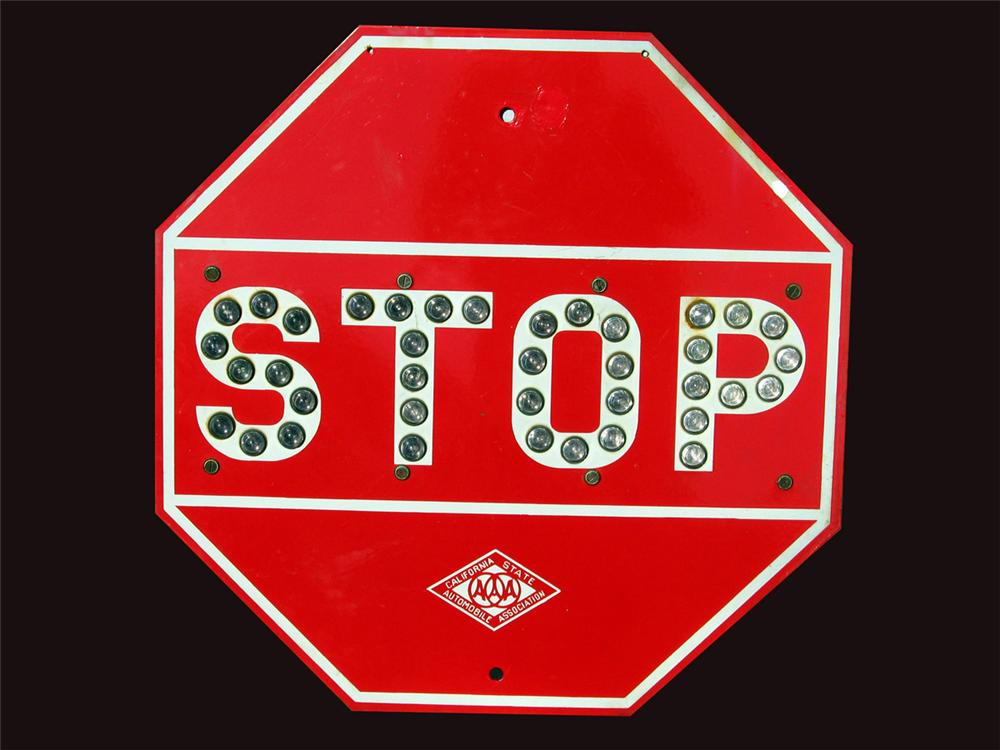 1930s California State Automobile Association Highway Stop Sign with glass marble lettering. - Front 3/4 - 82452