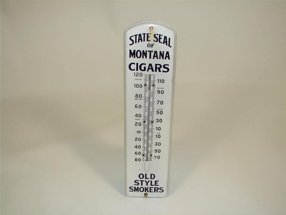 1920s State Seal of Montana Cigars porcelain general store thermometer. - Front 3/4 - 82453