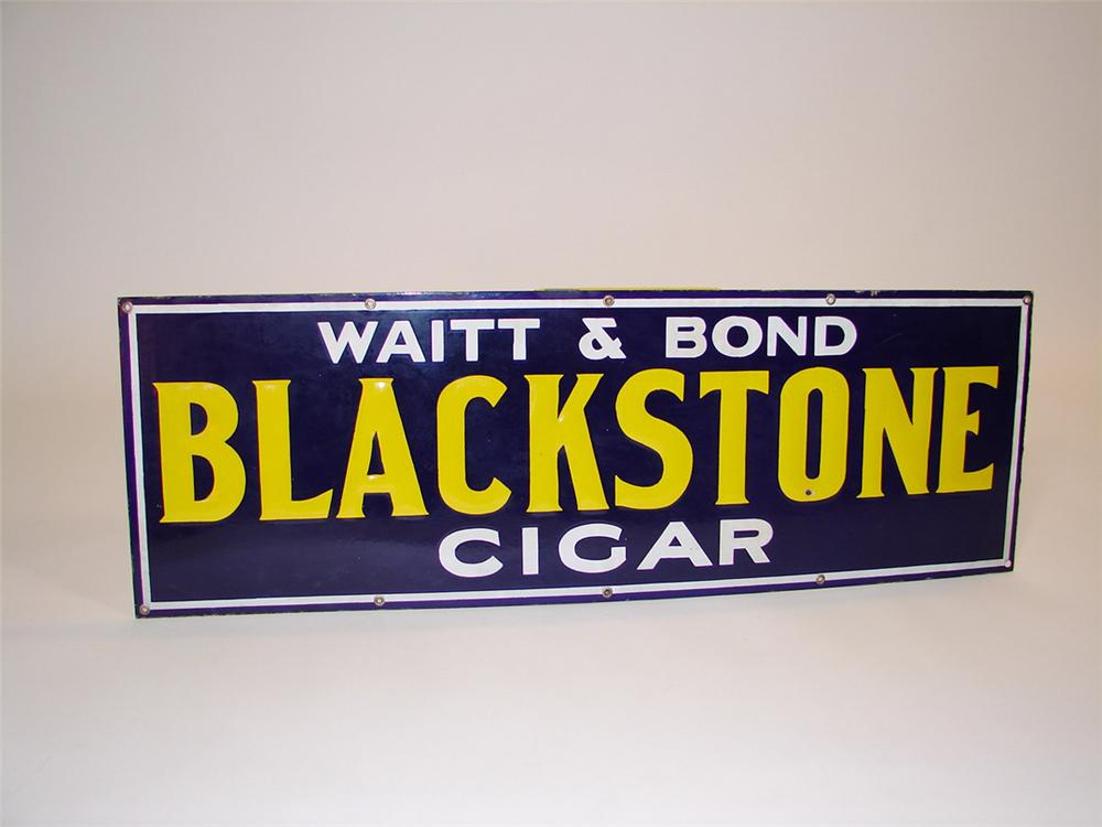"1930s Waitt and Bond ""Black Stone Cigars"" single-sided embossed porcelain general store sign. - Front 3/4 - 82454"