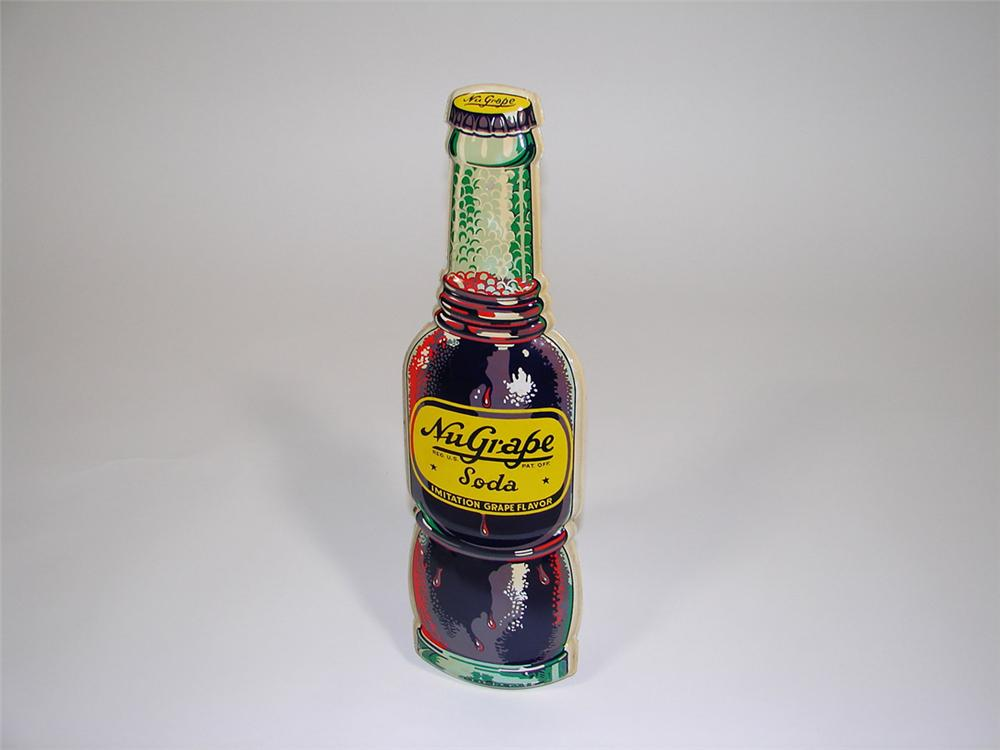 N.O.S. 1950s Nu Grape Soda three dimensional bottle-shaped tin sign. - Front 3/4 - 82456