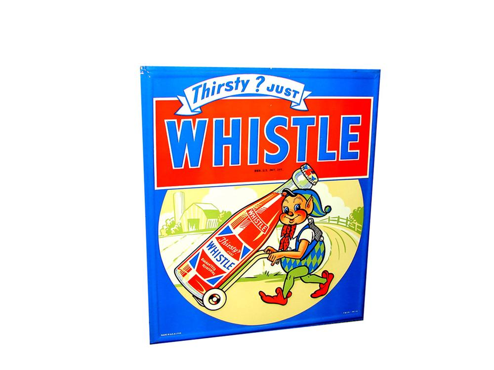 Killer N.O.S. 1948 Whistle Orange Soda tin general store sign with adorable elf graphic. Pulled out of the original shipping... - Front 3/4 - 82458